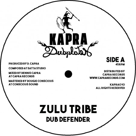 "Dub Defender / Dennis Capra - Zulu Tribe / Zulu Dub (7"" Kapra Dubplates)"