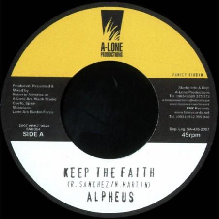 """Alpheus / Lone Ark – Keep The Faith / Musical Family (7"""" A-Lone Productions)"""